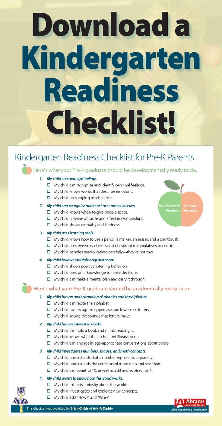 Download a FREE Kindergarten Readiness Checklist! Prek graduation. Prepare for kindergarten.