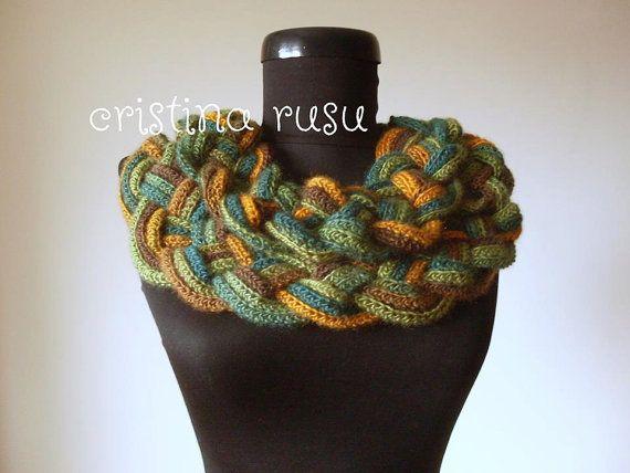 Multicolour Crochet Cowl Scarf Infinity Scarf by CrisColourCrochet