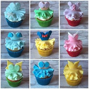 These cupcakes, topped with edible Disney Princess fashions. | 27 Disney Princess Confections That Will Blow Your Mind