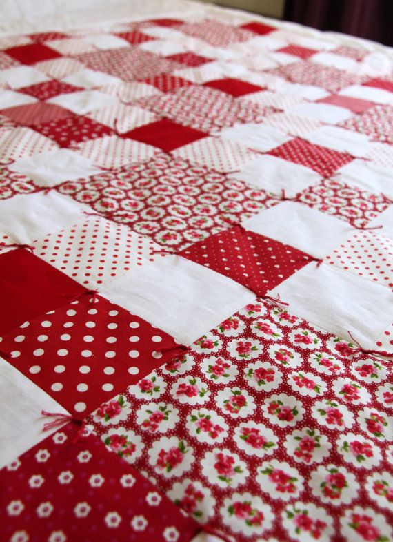 Traditional hand tied patchwork cot / cot bed by StitchWitcheryUk