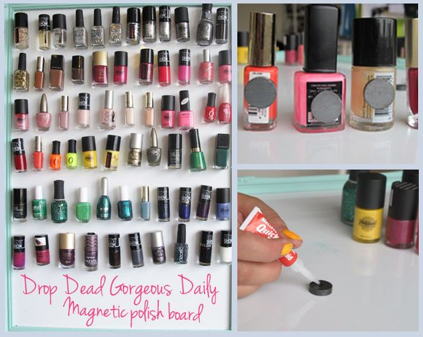 DIY: Nail Polish Magnet Board photo. Clever way to store all your colors, and have a mini piece of art in your room.