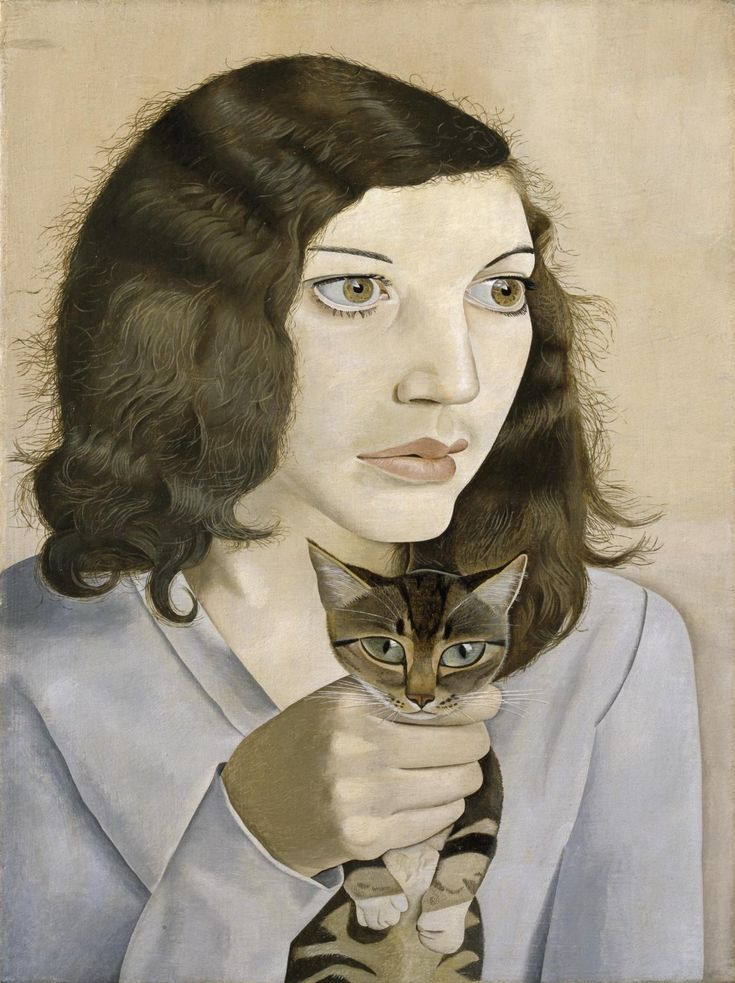 Lucien FruedGirl with Cat, 1947Oil on Canvas, 16 x 12 inches