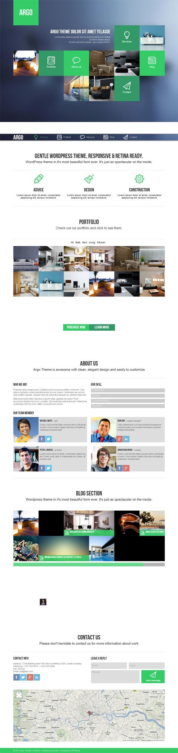 Argo, WordPress OnePage Metro UI Creative Theme by Premium Themes, via Behance