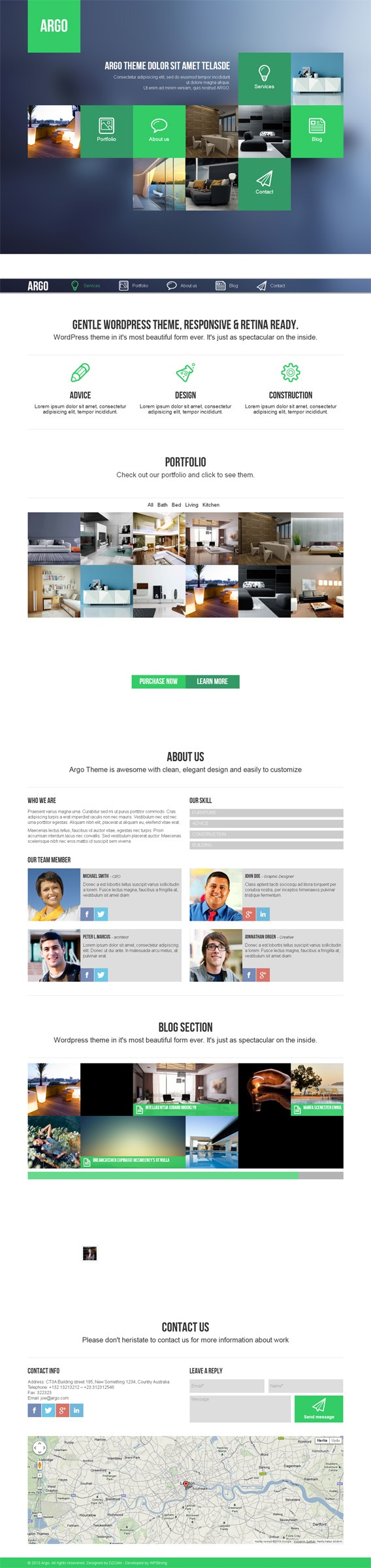 Argo, WordPress OnePage Metro UI Creative Theme by Premium Themes, via Behance