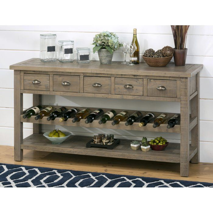 Lovella Wooden Wine Rack Buffet Table, Dining Room Buffet Table With Wine Rack