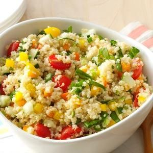 Colorful Quinoa Salad. Made this tonight.  It's a fresh tasting salad with a light dressing. I will definitely make this again over the summer months.