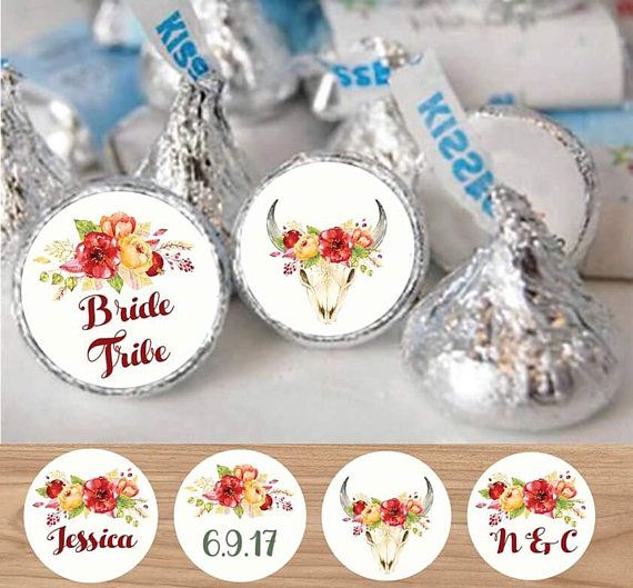 Floral Rustic Kiss Labels  Bride Tribbe 63 Candy Labels Candy
