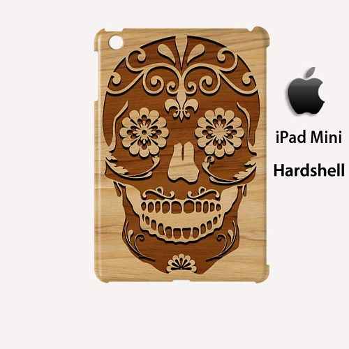 Carving Skull Surgar Style Wood 2 Case for Apple iPad Mini