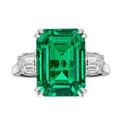 Van Cleef & amp; ARPELS 8,20 quilates esmeralda colombiana talla esmeralda y amp; Diamond Ring