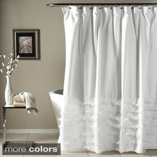 Excellent lush decor avery ruffled shower curtain shopping for Tende country per bagno