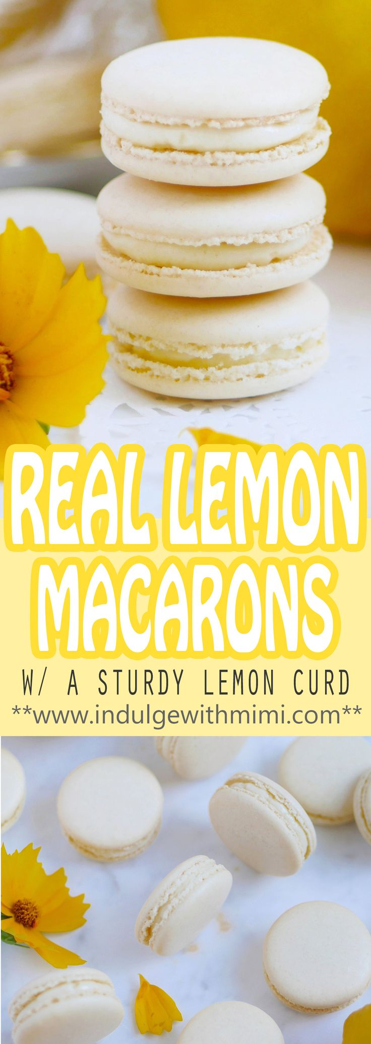 Macarons filled with a lemon cream and curd that won't make your macarons soggy. It's a mouthwatering and delicious macaron recipe made with REAL lemons - no artificial flavours.