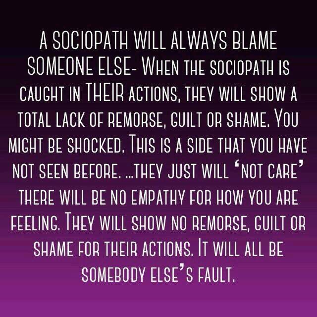 no, I wasn't shocked... I am shocked at the word Sociopath...that is harsh and strong...definition fits though..