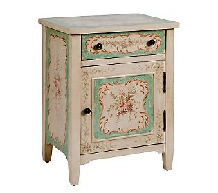 """QVC """"Treasures"""" by Shabby Chic 26"""" hand Painted Floral Accent Table ($168.00)"""