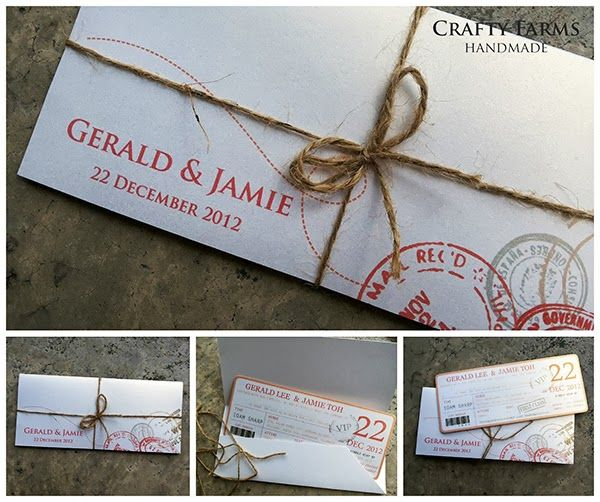 Loving this handmade boarding pass invitation with vintage travel stamp print