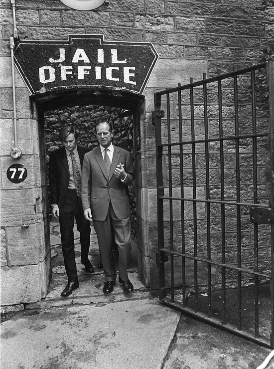 Prince Philip visiting olf Ottawa jailhouse - This jail since retired and turned into a hostel where you can stay the night and see the ghosts on the haunted walk... do you dare sleep there?