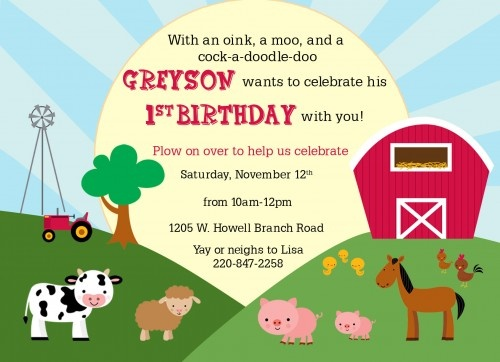 Barnyard farm first birthday printable invitation