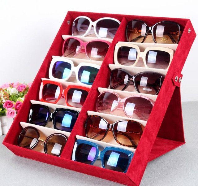 Quality glasses storage box 12 grid deerskin sunglasses display box Sunglass Organizer Box Eyewear Storage Usage 12 Compartment