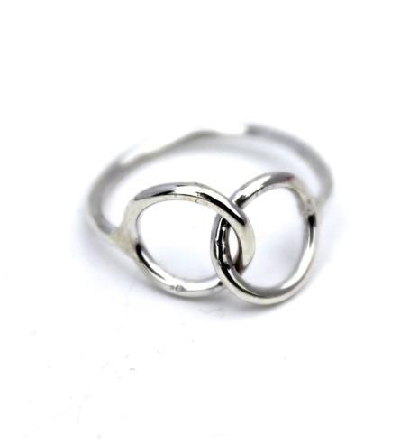Together Sterling Silver Link Ring | This elegant sterling silver ring sports a cheerful twist of g... | Rings