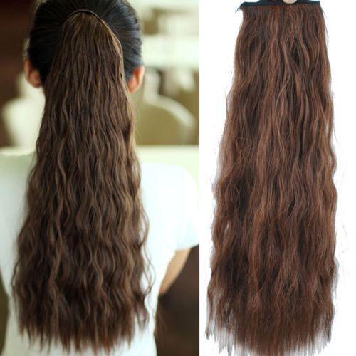 """Nieuwe mode reële kwaliteit 21"""" 120g golvende wrap around synthetische paardenstaart hair extensions paardenstaart 3 kleuren gratis verzending"""