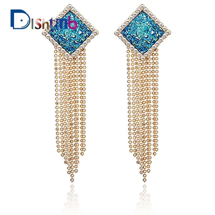 2017 Fashion Luxury Square Long Gold Earrings For Women Crystal Geometry Tassel Earrings brincos from india #Affiliate