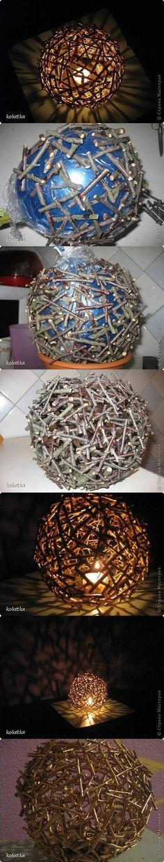 DIY Tree Branches Light well this is a SWITCH on the eggs or ornaments made with string--pretty organic (Maci would like this!!)