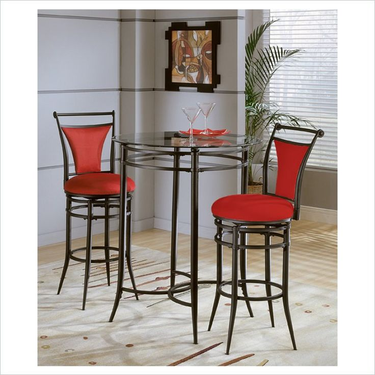 Hillsdale Cierra Mix N Match Round Glass Top Pub Table
