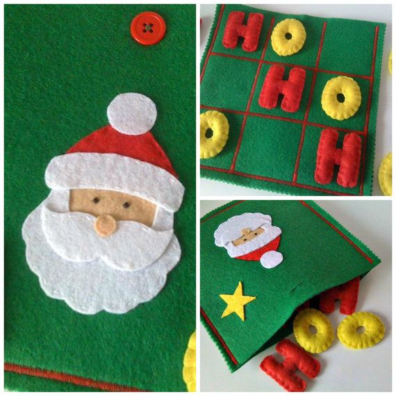 CHRISTMAS Tic Tac Toe Game Set Santa Claus Are you looking for a last minute Christmas presente for your CHILDREN ? You found it! Have a look at my shop for more ready to ship TIC TAC TOES!!!