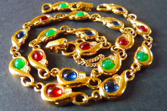 CARVEN Paris Necklace, French Haute Couture, Vintage Choker, Costume Jewelry, Gold Tone Green Red Blue, Rhinestone, Gift Idea, Free Shipping