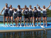 Team GB celebrates winning the gold medal in the men's rowing eight