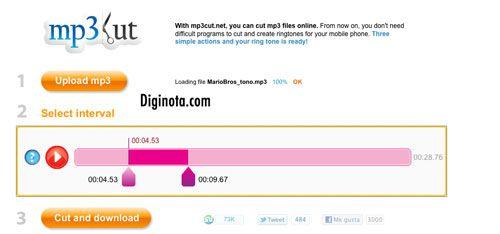 Cómo cortar MP3 o el audio de canciones gratis y online excelente para hacer tus ringtones | Diginota