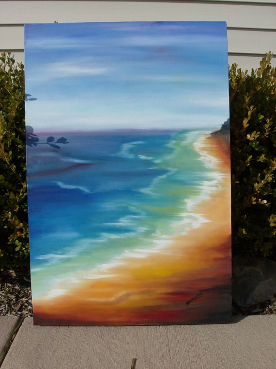 Soothing Coast 24 X 36 X 1 1/4  original oil by PaintBucket, $210.00