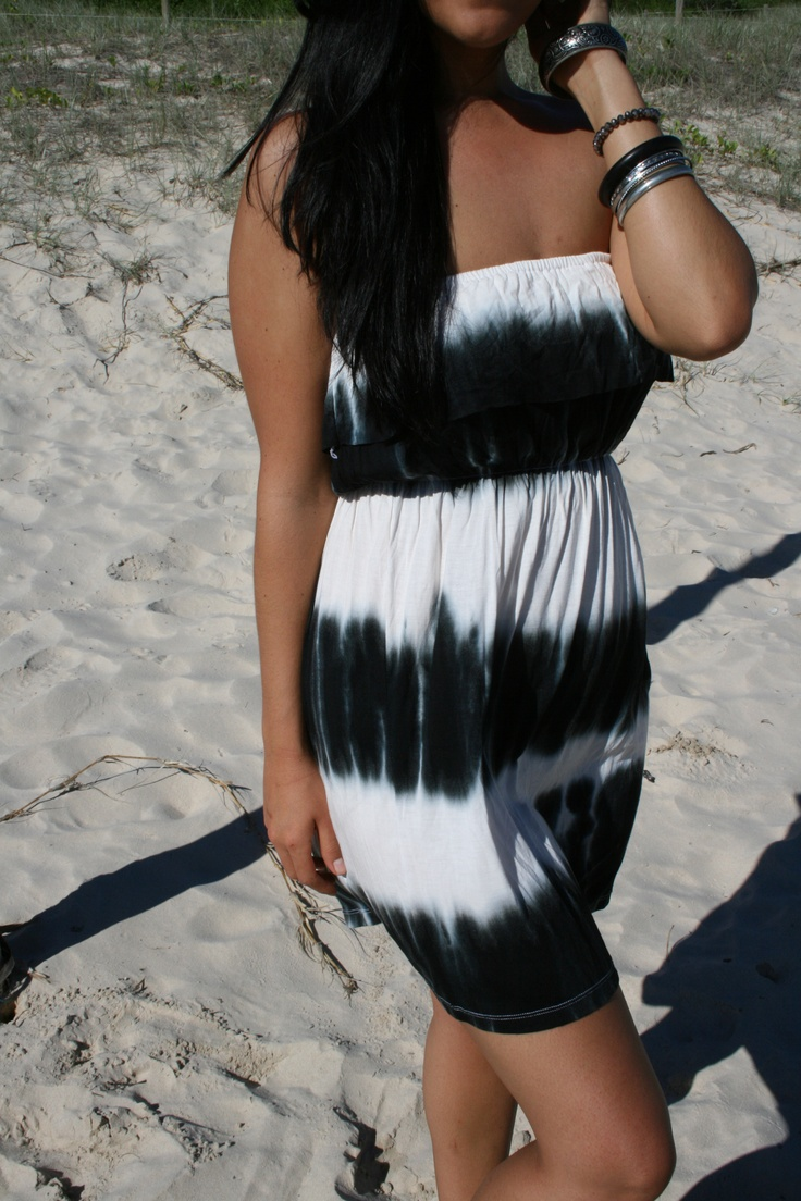 "www.ladywatego.com   Lady WATEGO,Byron Bay ""Harlow"" Strapless, frill summer dress in Black and White tie-dye..$39.99"