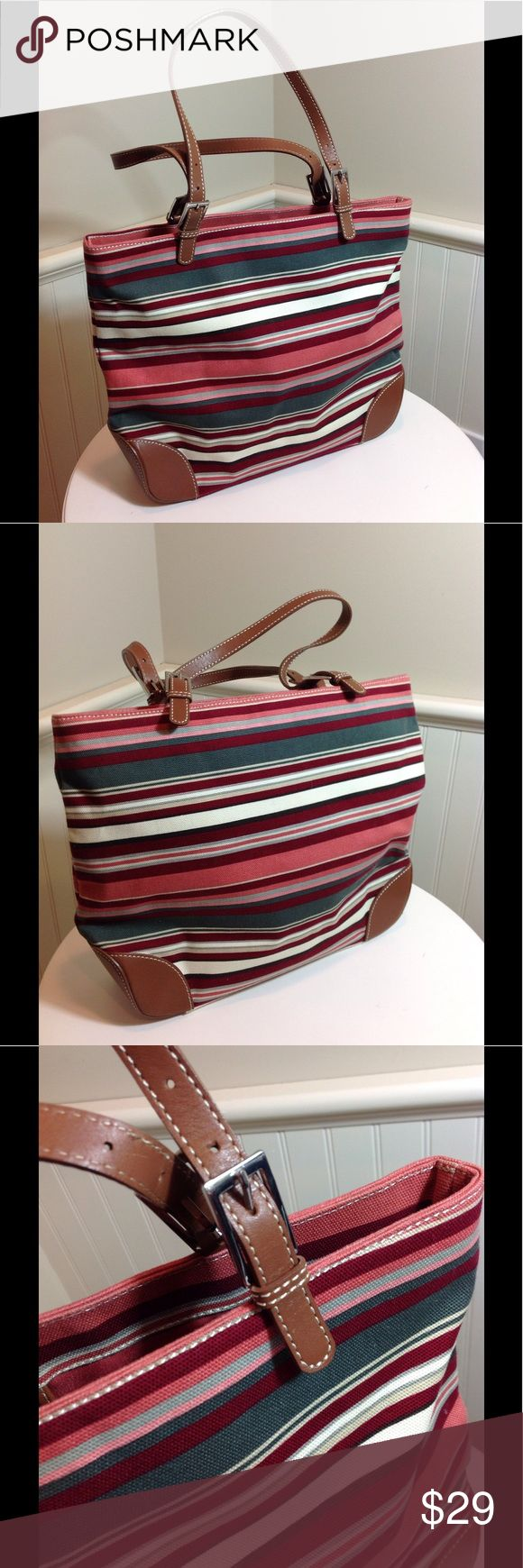 "Banana Republic Canvas Handbag Striped. Multicolored earth tones. Cotton canvas. Leather details; adjustable handles. Reinforced bottom corners. No sign of wear!!! Great condition!!! Handles have an Approx 8"" drop. 14"" wide X 11"" high x3"" deep. Banana Republic Bags Totes"
