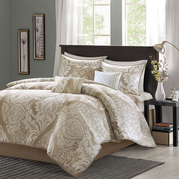 Madison Park Calista 7-pc. Comforter Set, Beige/Khaki featuring polyvore, home, bed & bath, bedding, comforters, king size pillow shams, 7 piece comforter set, king size comforter, floral king comforter and king comforter