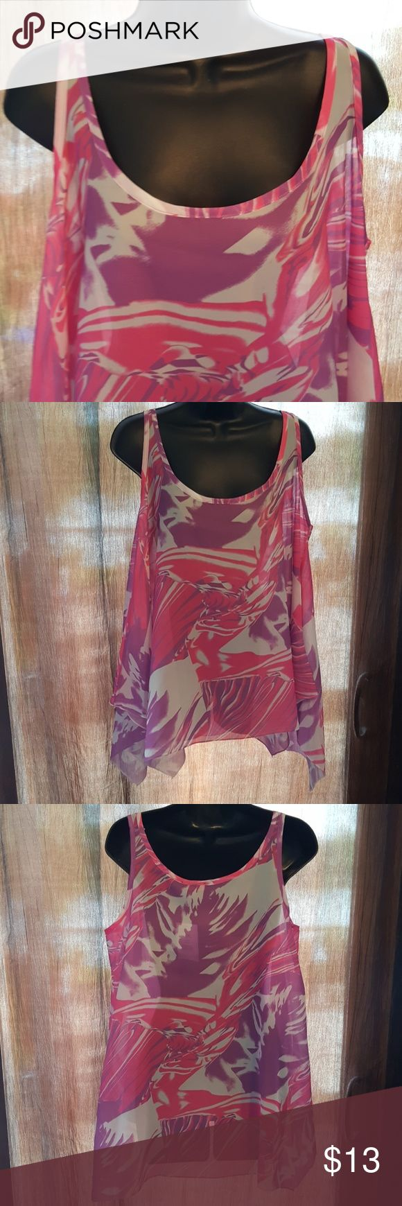 """Handkerchief Nice Medium Sheer Handkercheif Style. Can wear a camo or bathingsiut., Or maybe even a Pink/purple bra.  Length 28"""" Bust measures up too 40 100% Polyester Size L/XL NWT Tops Muscle Tees"""