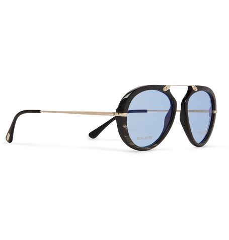 TOM FORD  Private Collection Aviator-Style Horn And Gold-Tone Sunglasses