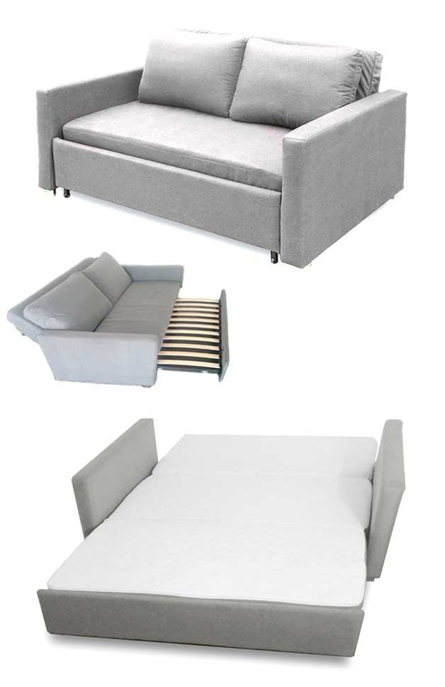 Sofa folds into queensize bed (affordable) | http://www.godownsize