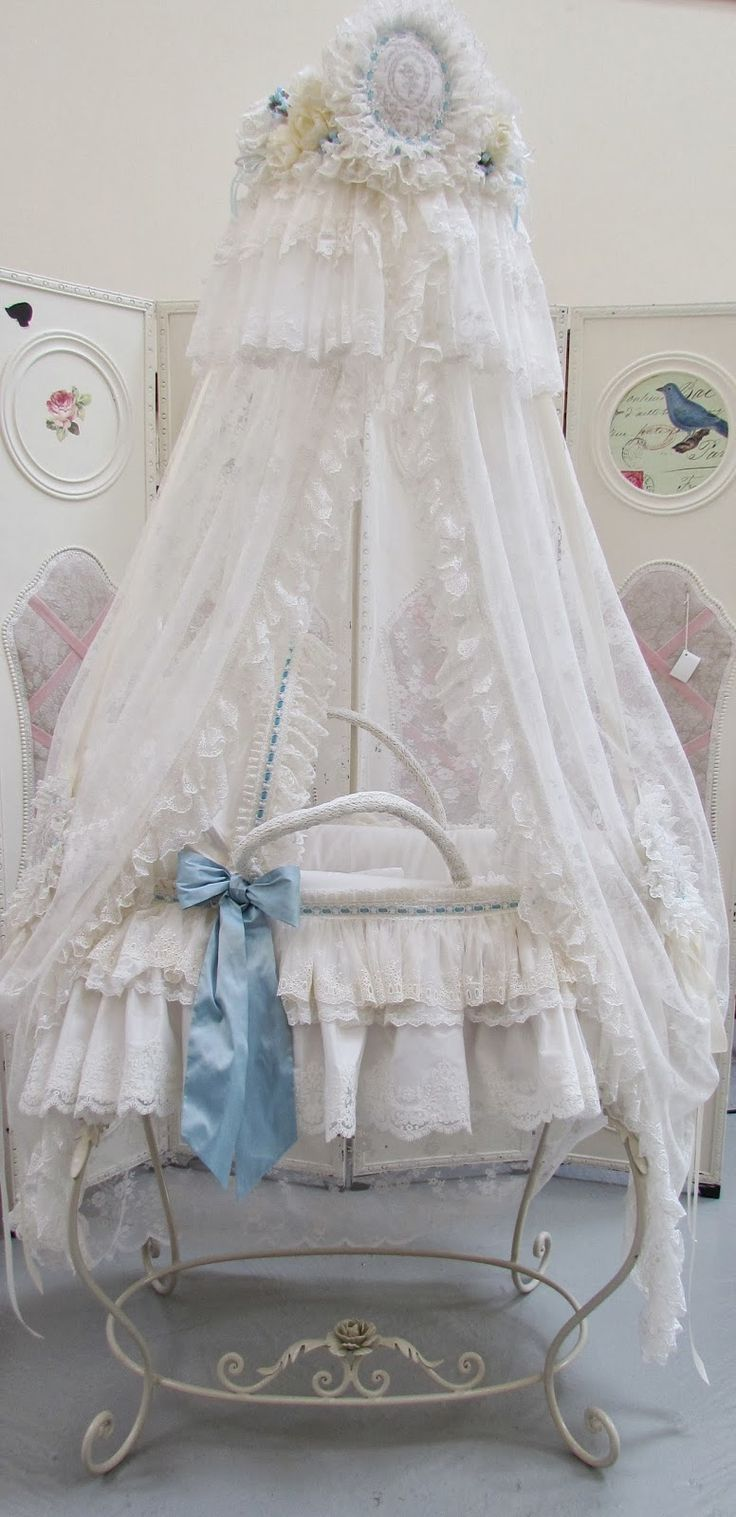 Best crib for tall baby - I Love This Sweet Baby Boy Set The Moses Basket Has Soft Cotton Toile Details I Love The Crown So Tall And Majestic