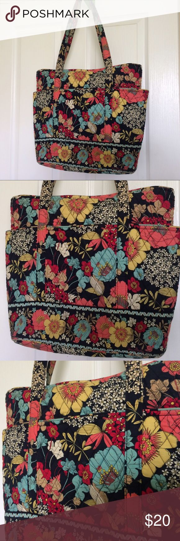 "Vera Bradley Signature quilted cotton tote.  Used Beautiful floral print.  14""H x 17""W x 5""D.  Handle drop 11"".  Zippered top closure.  6 slip pockets outside, 3 slip pockets inside.   Good condition. Slightly worn on bottom (see last two pictures).  Machine wash, line dry. Vera Bradley Bags Totes"