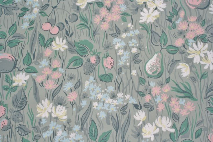 Vintage Floral Wallpaper Green with Fruit 1960s by pixiedustlinens on Etsy https://www.etsy.com/listing/154477624/vintage-floral-wallpaper-green-with