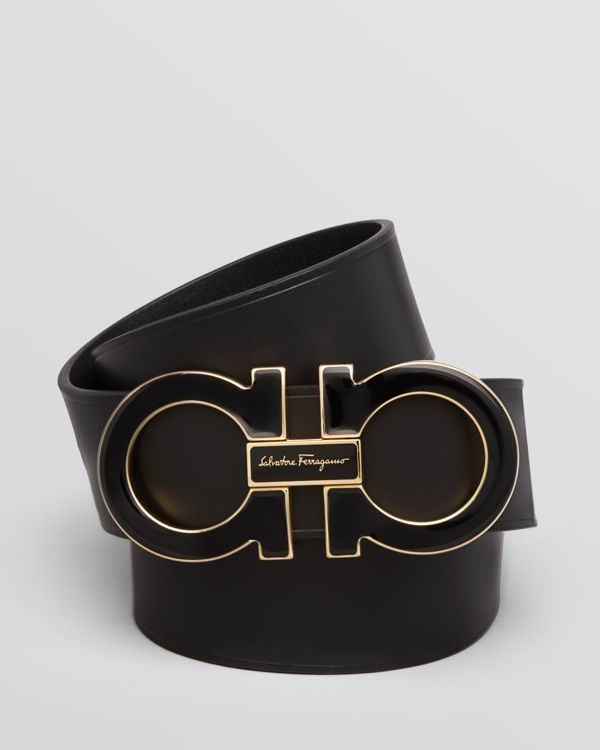 """Salvatore Ferragamo's iconic Gancini buckle is rendered in polished enamel on this ultra-luxe leather belt. 
