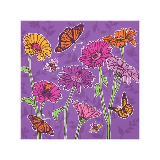 Purple home decor is absolutely adorable no matter if you like pale purple, lavender, lilac, magenta or violet purple home decor.  A purple themed home is easy to achieve by using purple wall art, purple throw pillows, purple throw blankets and purple area rugs.  Use this along with other purple wall art to create a relaxing, funky home decor theme #purple  Daisy & butterfly on purple canvas print #FunkyHomeDécor,