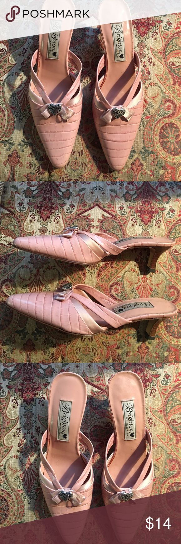 Authentic Brighton Shoes Pink leather,open back shoes. Very good condition,hardly worn. Brighton silver heart with pink ribbon Brighton Shoes Heels