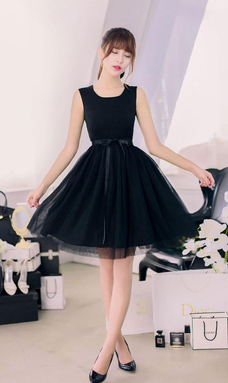 Korean fashion round neck sleeveless vest lace dress