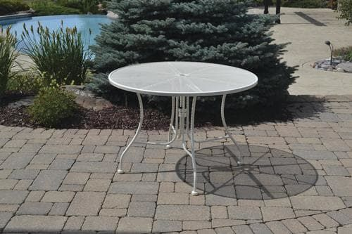 Backyard Creations® Antique Ivory Round Dining Patio Table at Menards®: Backyard Creations® Antique Ivory Round Dining Patio Table