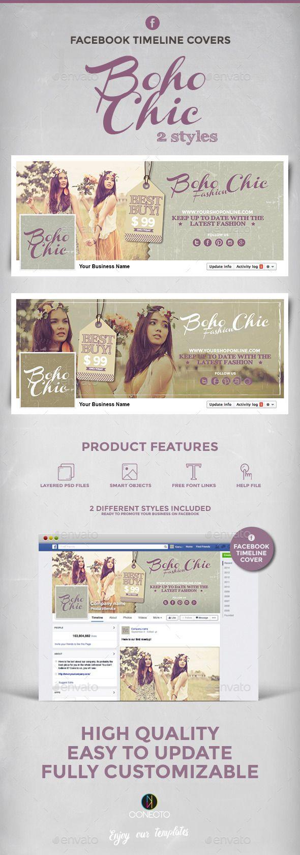 Boho Chic Facebook Timeline Covers Template #design Download: http://graphicriver.net/item/boho-chic-facebook-timeline-covers/12585998?ref=ksioks