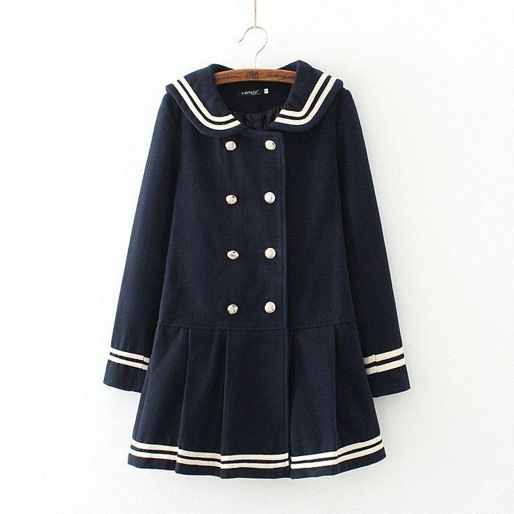 "Sweet navy bowknot woolen coat SE9242   Coupon code ""cutekawaii"" for 10% off"