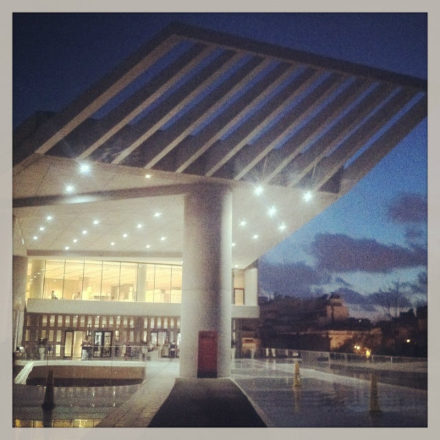 The impressive entrance of the New Acropolis Museum. (Walking Athens - Route 04 / Plaka)