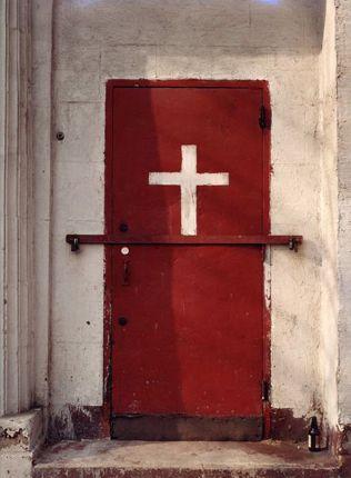Red Door, White Cross by Alice Attie: Rugs Crosses, Red Doors, Red Crosses, White Crosses, Sacred Artcrossessantossaint, Amazing Doors, Enter Watches, Doors Artsandcraft, Crosses Doors