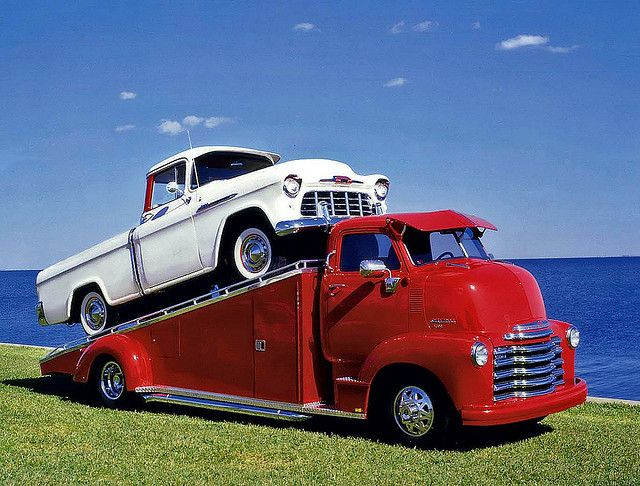 Cool Chevy COE ~ hauling 55 Chevy fleetside........